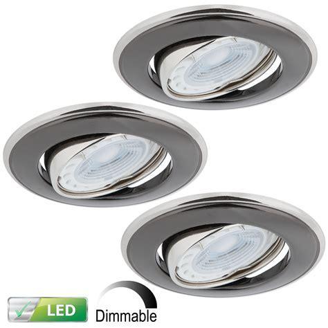 LED Einbaustrahler Nickel Graphit 3er Set, 3 x LED GU10 5