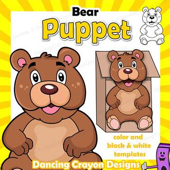 puppet bear craft activity printable paper bag puppet