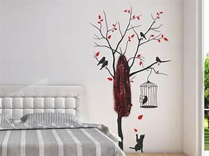 Baum Als Garderobe : wandtattoo garderobe baum mit vogelk fig und katze bei ~ Buech-reservation.com Haus und Dekorationen