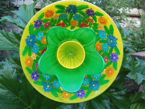 Garden Art Glass Plate Garden Flower Hand Painted In A