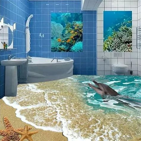 Custome 3d floor tiles sea toilet 80x80cm bathroom wall
