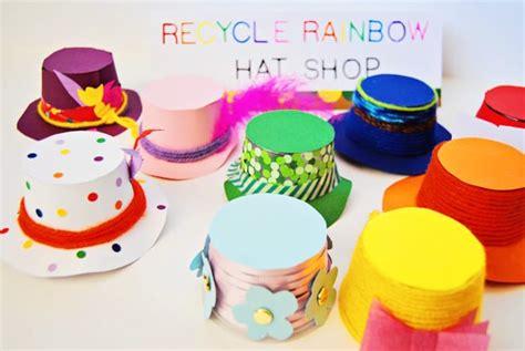 recycled rainbow yogurt hat shop  pretend play