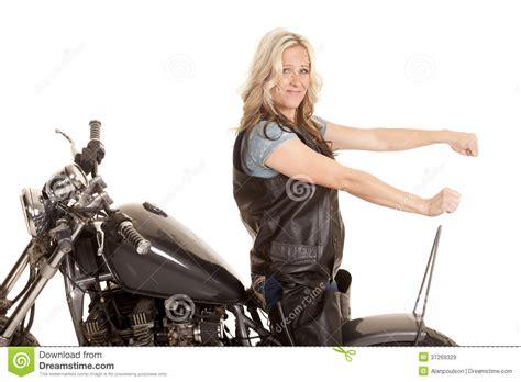 Woman Leather Ride Motorcycle Backwards Stock Image