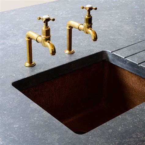 Brass Sink Taps Bathroom by Stunning Hammered Copper Sink And Aged Brass Mayan Taps