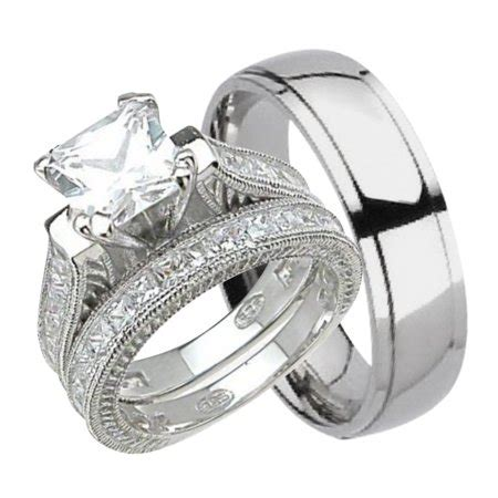 wedding rings sets for him and his and hers wedding ring set matching trio wedding bands 1067