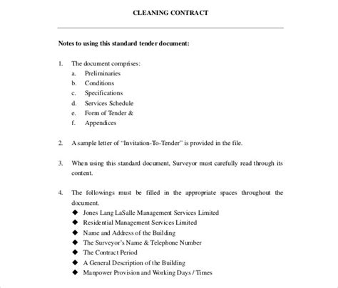 cleaning contract templates word  apple pages