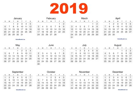 Calendar Template 2019 2019 Calendar Editable Template Printable Letter