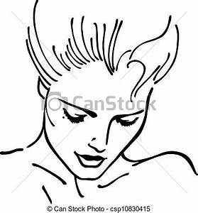 Woman's face (vector illustration) isolated on white ...
