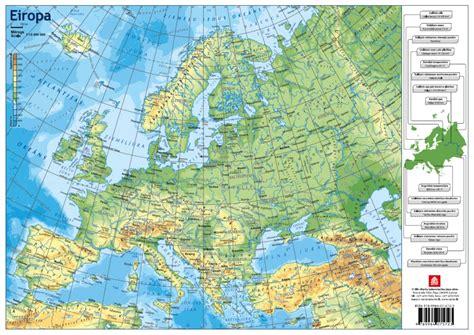 Eiropas politiskā un fizioģeogrāfiskā karte A3 formātā ...