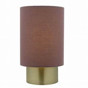 Dar lighting robyn touch lamp in antique brass finish with for Floor lamp with plum shade