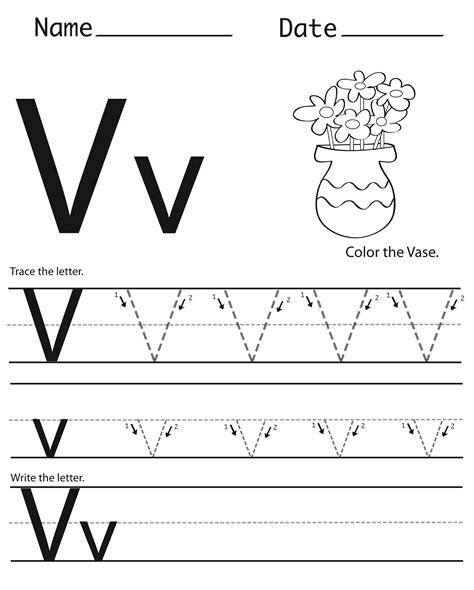 letter v worksheets students alphabet practice printable