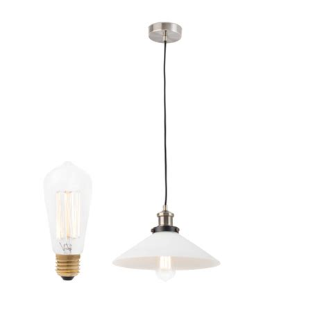 pendant l with glass diffuser and decorative bulb 40w