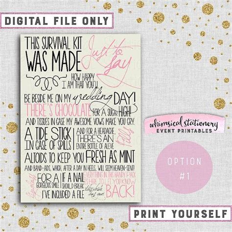 Wedding Day Survival Kit Card (Printable File Only) Coordinate To Your Wedding Colors