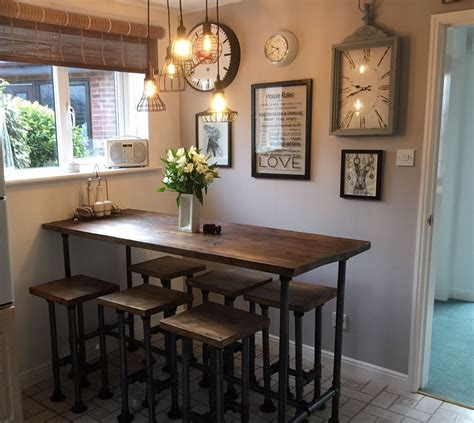 high bar kitchen table set  stools kitchen bar table