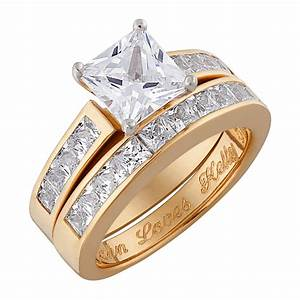 14k gold over sterling two piece square cz engraved With two piece wedding ring set
