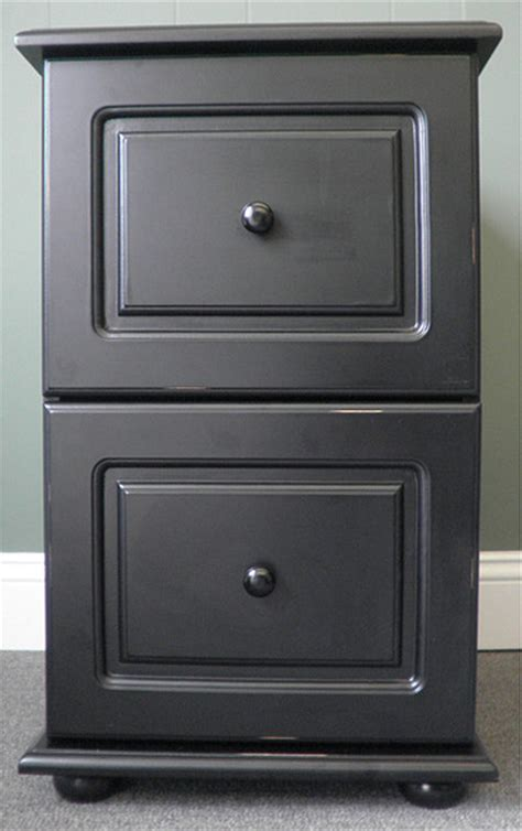 Black Wood Distressed Two Drawer File Cabinet