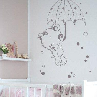 stickers nounours  son parapluie fresque murale