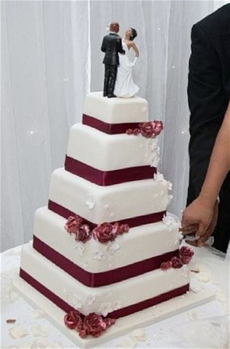 tier square wedding cake  african american couple