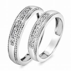13 CT TW Diamond His And Hers Wedding Band Set 10K