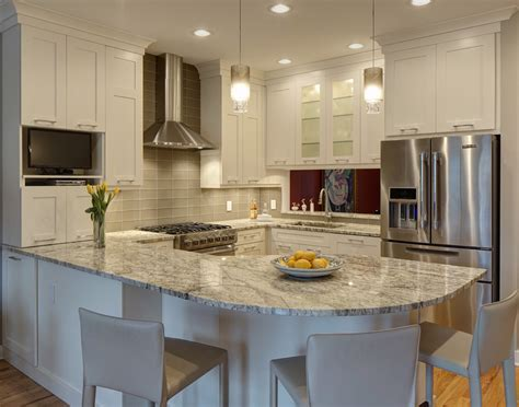 white galaxy granite Kitchen Transitional with beige