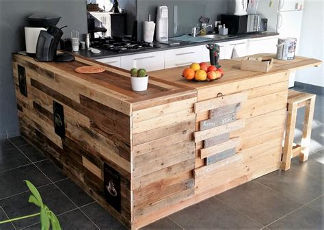 repurposed pallet kitchen  attached seating wood