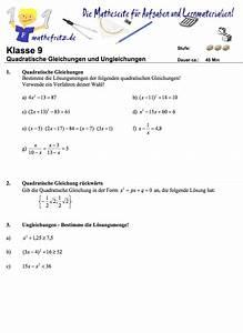 Nullstellen Berechnen Quadratische Funktion Aufgaben : quadratische gleichungen klassenarbeit aufgaben quadratische gleichung ~ Themetempest.com Abrechnung