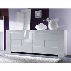 Meuble Haut Blanc Laqué : salle manger blanc laqu buffet 4 portes meuble haut 2 portes table 160 cm mooviin ~ Teatrodelosmanantiales.com Idées de Décoration