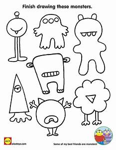 Finish drawing these monsters free printable coloring for Mosnter template