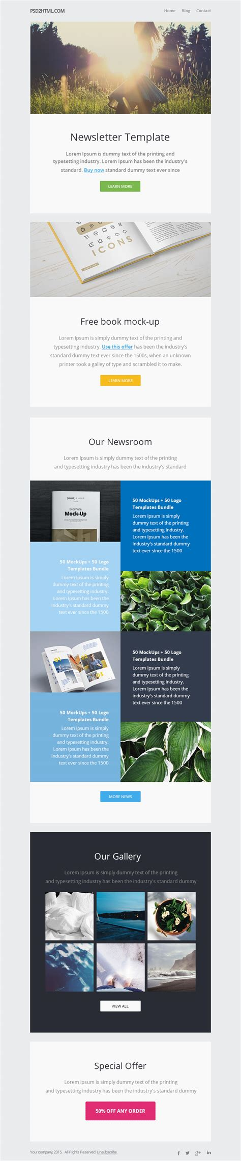 email newsletter templates free newsletter template psd html graphicsfuel