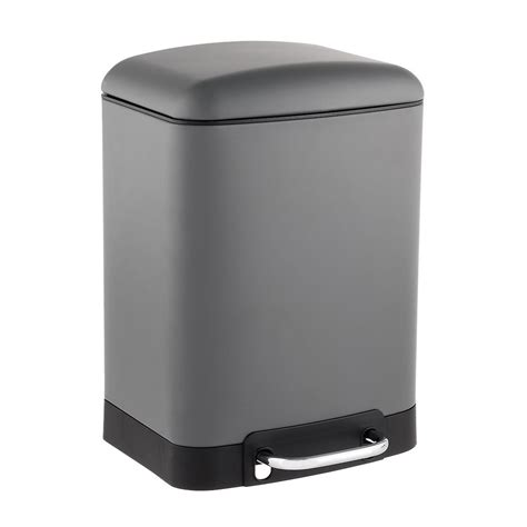 small rectangular bathroom trash can 1 5 gal matte grey rectangle step trash can the