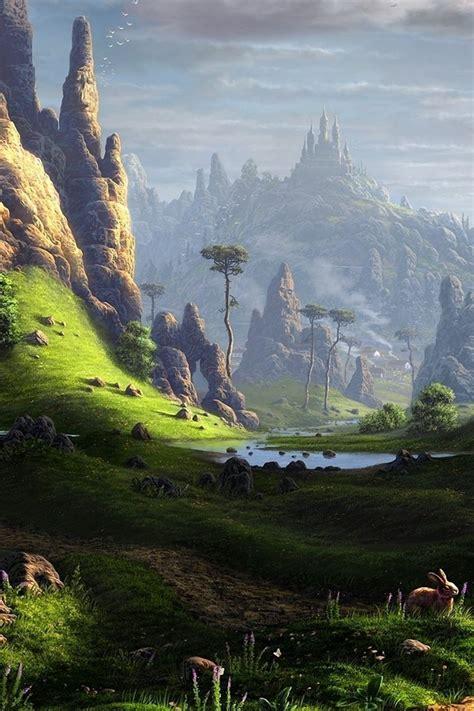 landscapes valley fantasy art artwork wallpaper