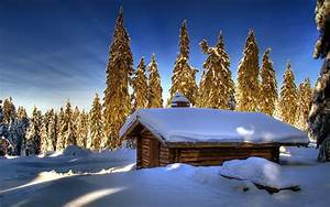 Winter, Cottage, Wallpapers