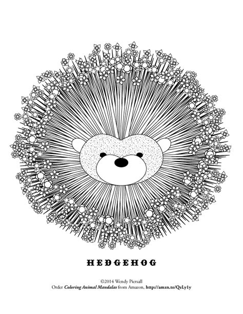 cute hedgehog animal mandala coloring page click
