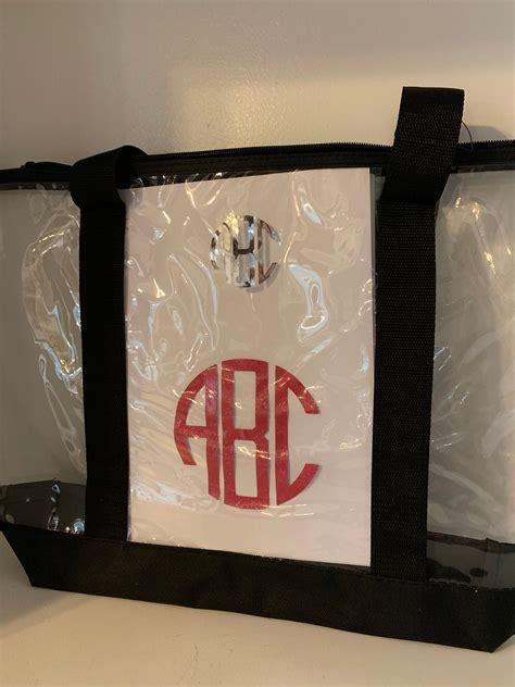 clear monogram tote stadium bag pocket  zippered plastic paparazzi bag personalized
