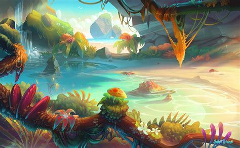 illustration fantasy art sunset bonsai water