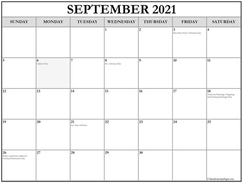 collection  september  calendars  holidays