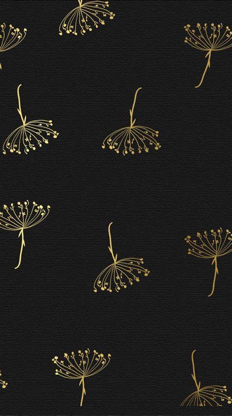 Lock Screen Gold Black Wallpaper Iphone by Black Gold Textured Botanical Flora Iphone Wallpaper Phone