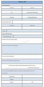 Temporary will form sample template for Temporary will template