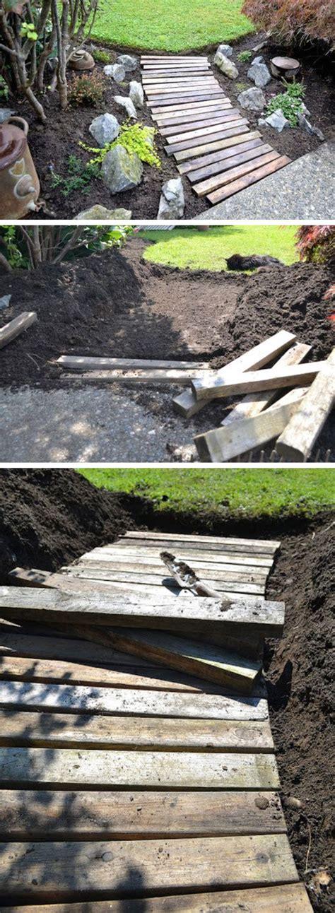 pallet wood garden walkway diy garden projects ideas backyards diy garden diy garden