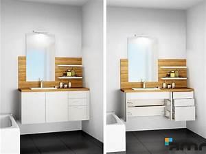 amrconcept With porte de douche coulissante avec meuble de rangement salle de bain sur roulettes
