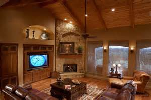 living room living room design with corner fireplace and tv beadboard storage southwestern