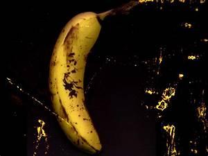 Download wallpaper: Banana on black background, black ...
