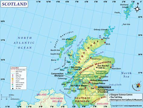 Detailed Map Of Scotland, Uk