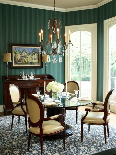 emerald green dining room  striped wallpaper hgtv