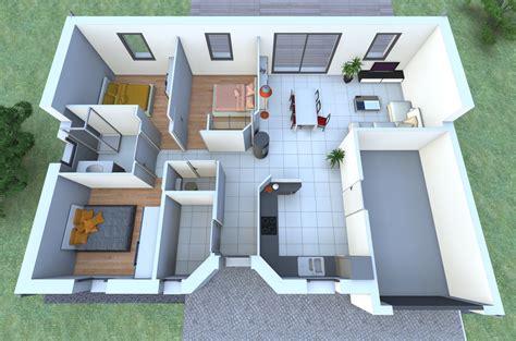 maison 3 chambres plan maison plain pied 2 chambres 3d maison moderne