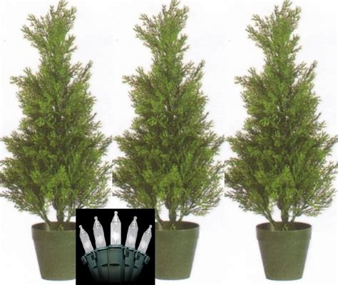 three 2 foot outdoor artificial cedar topiary trees potted