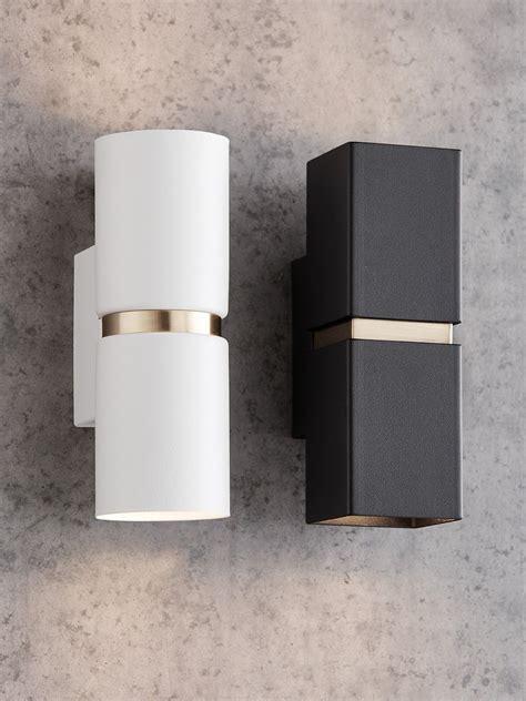 baristo 2 light up down round wall bracket in white brass