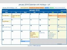 Print Friendly January 2018 UK Calendar for printing