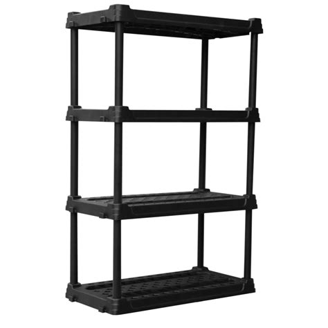 plastic shelving units shop blue hawk 56 5 in h x 36 in w x 18 in d 4 tier plastic freestanding shelving unit at lowes com