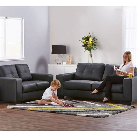 Cheap 3 2 Seater Sofa Deals by Priceworth 2 And 3 Seater Pu Leather Sofa Set Black